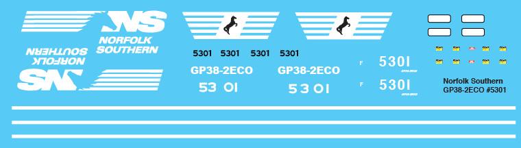 Norfolk Southern GP38-2ECO Locomotive Decals