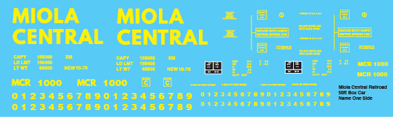 Miola Central Box Car 50ft Lettering One Side