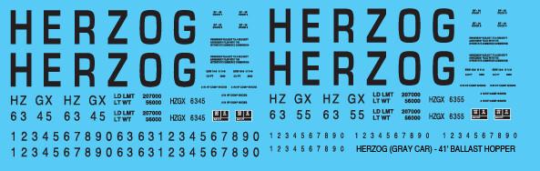 Herzog Open Hopper Ballast 41ft Grey Car Decals