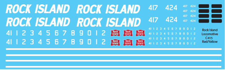 Rock Island C415 Red Yellow Locomotive Decals