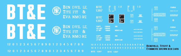 Bendville Titefit & Evenmore Railroad Brown Box Car Decals