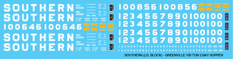 Southern 100T 2 Bay Hopper Large Block Letter Decals
