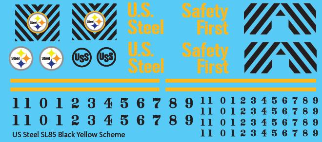 US Steel SL85 Locomotive Black & Yellow Locomotive Decals