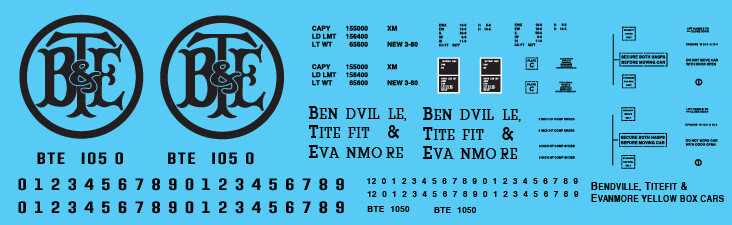Bendville Titefit & Evenmore Railroad Yellow Box Car Decals