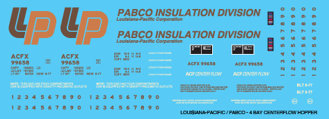 Louisiana Pacific 4 Bay Centerflow Covered Hopper Decals