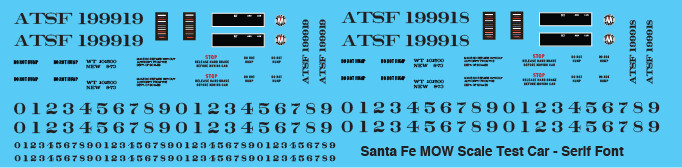 Santa Fe MOW Scale Test Car Serif Font Decals