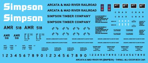 Arcata Mad River All Door Box Car Decals