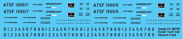 Santa Fe MOW Scale Test Car Stencil Font Decals