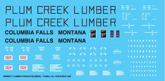Plum Creek Lumber Products All Door Box Car Decals