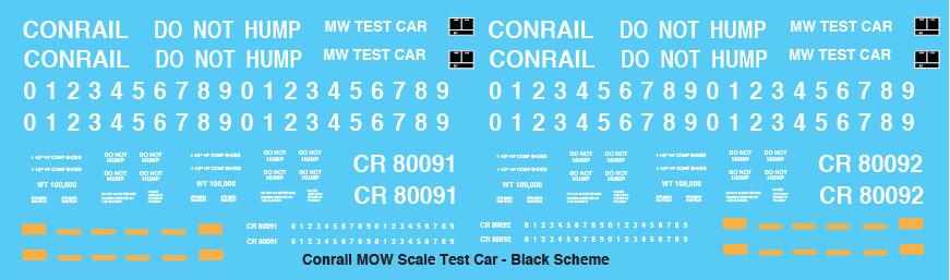 Conrail MOW Scale Test Black Scheme Decals