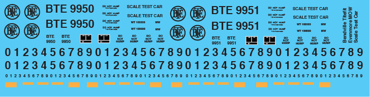 Bendville Titefit Evenmore MOW Scale Test Car Decals
