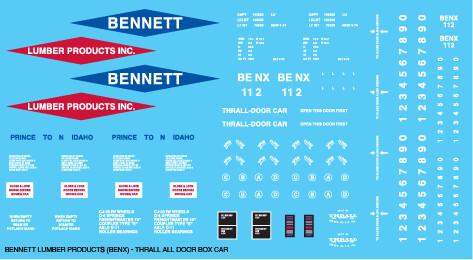 Bennett Lumber Product All Door Box Car Decals