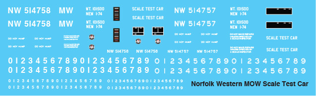 Norfolk Western MOW Scale Test Car Decals