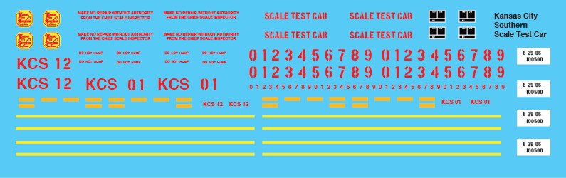 Kansas City Southern MOW Scale Test Car Decals