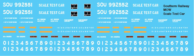 Southern MOW Scale Test Car Decals