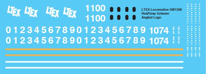 LTEX SW1500 Locomotive Angled Logo Decals