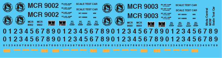 Miola Central MOW Scale Test Car Decals