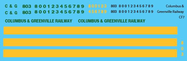 Columbus Greenville Railway CF7 Locomotive Decals