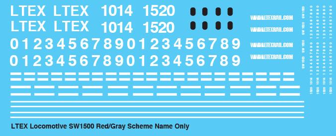LTEX SW1500 Locomotive Name Only Decals
