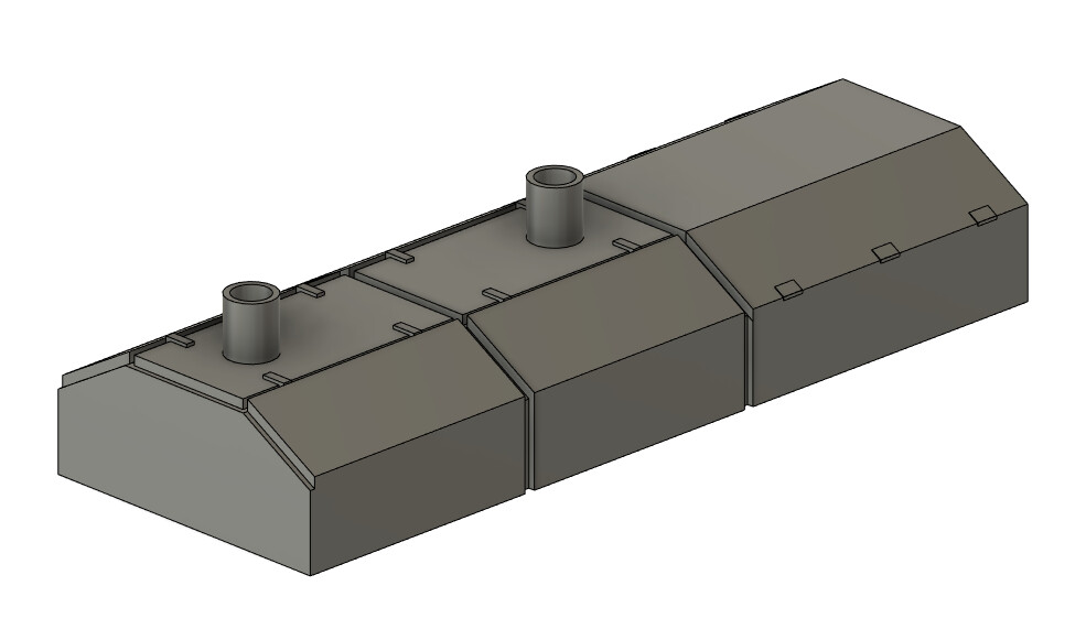 N Scale Detail Parts - Alco RS3m Canted Hood (Qty 1)
