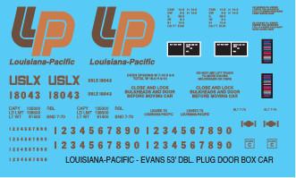 Louisiana Pacific 53ft Evans Box Car Decals