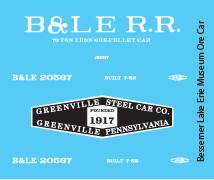 Bessemer & Lake Erie Greenville Museum Ore Car Decals