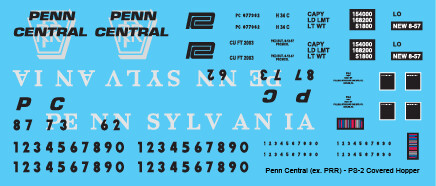Penn Central 2 Bay PS2 ex PRR Covered Hopper Decals