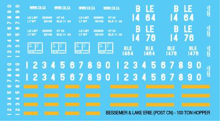 Bessemer Lake Erie 100t Open Hopper Post CN Decals