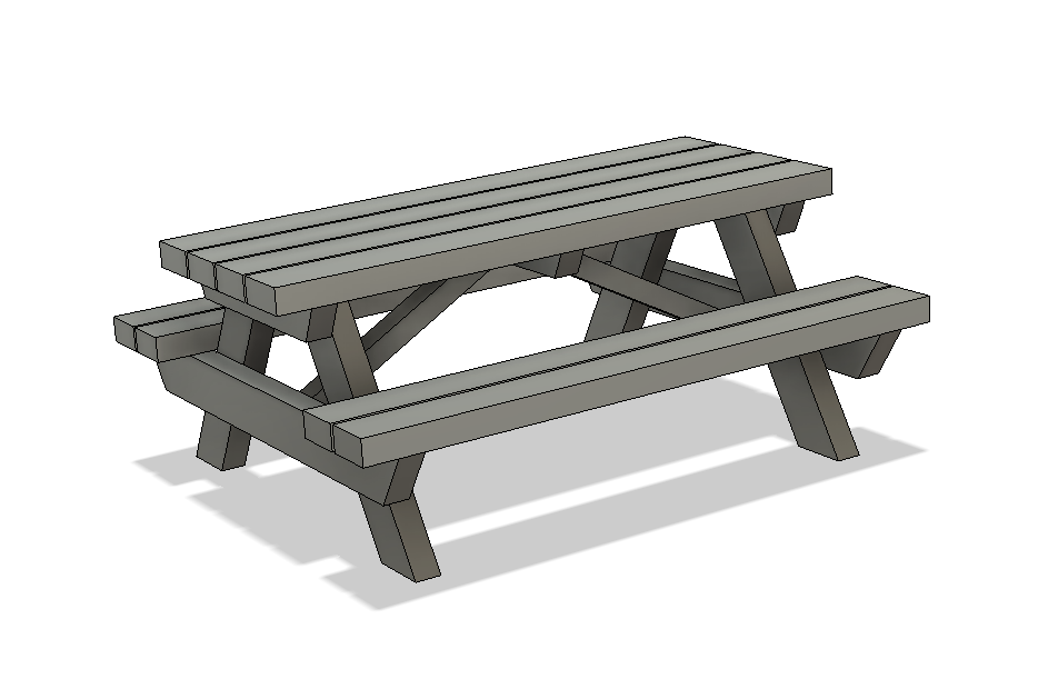 N Scale Detail Parts - Picnic Table (Qty 2)
