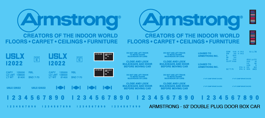 Armstrong Lumber Products 53ft Box Car Decals