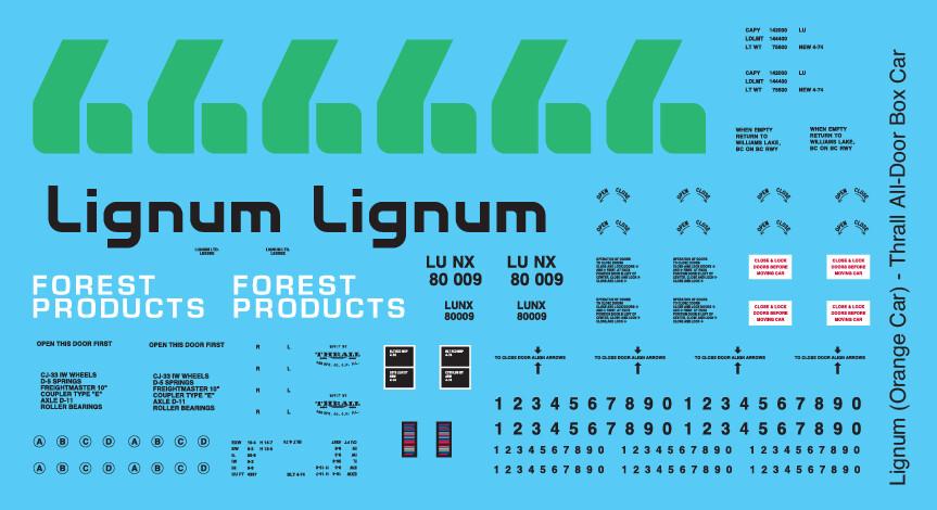 Lignum Lumber Orange All Door Box Car Decals