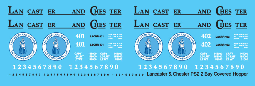 Lancaster Chester Covered Hopper PS2 2 Bay Decals