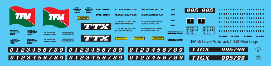 TFM Bi-Level Autorack TTGX Med Flag Decals