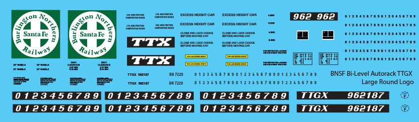 BNSF Bi-Level Autorack TTGX Large Round Logo Decals
