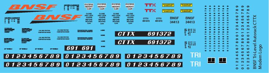 BNSF Tri-Level Autorack CTTX Modern Logo Decals