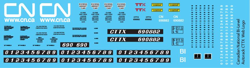Canadian National Bi-Level Autorack CTTX Web Logo Decals