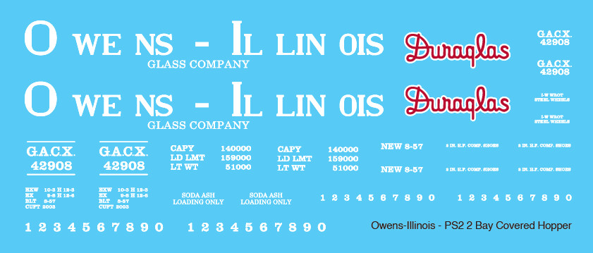 Owens Illinois Covered Hopper PS2 2 Bay Decals
