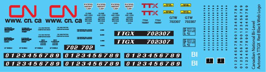 CN Bi-Level Autorack TTGX Red Black Web Logo Decals