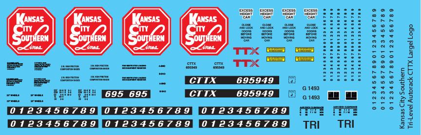 Kansas City Southern Tri-Level Autorack CTTX Large Logo Decals