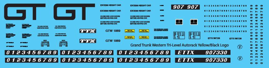 Grand Trunk Tri-Level Autorack ETTX Yellow Black Logo Decals