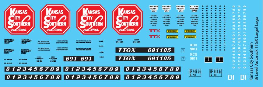 Kansas City Southern Bi-Level Autorack TTGX Large Logo Decals