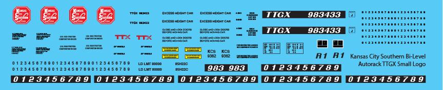 Kansas City Southern Bi-Level Autorack TTGX Small Logo Decals