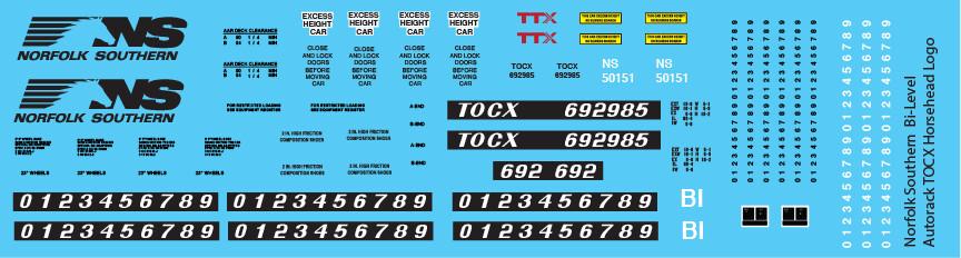 Norfolk Southern Bi-Level Autorack TOCX Horsemane Decals