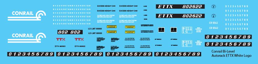 Conrail Bi-Level Autorack ETTX White Logo Decals