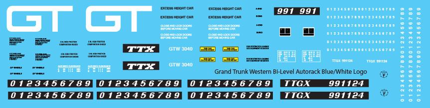 Grand Trunk Bi-Level Autorack TTGX Blue White Logo Decals