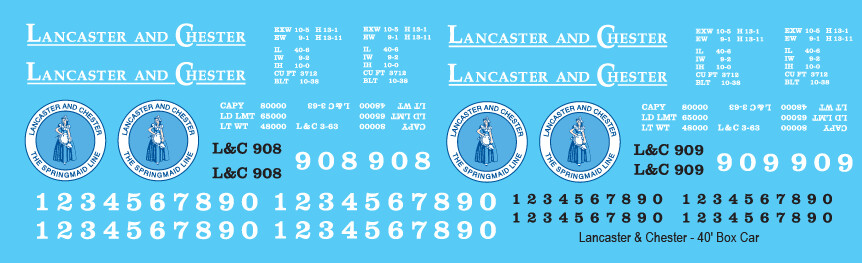 Lancaster Chester 40ft Box Car Decals