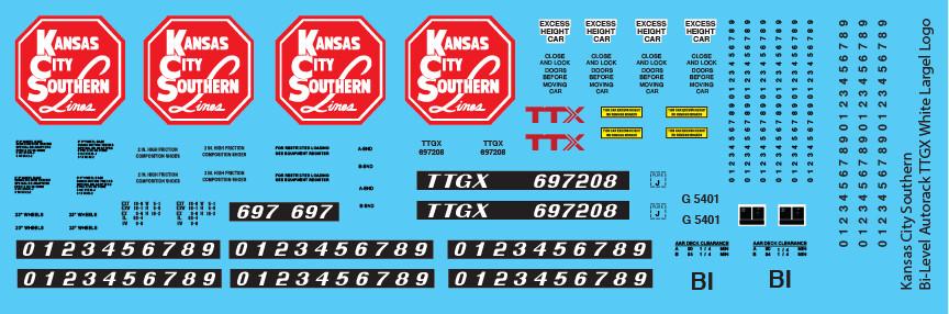 Kansas City Southern Bi-Level Autorack TTGX White Large Decals