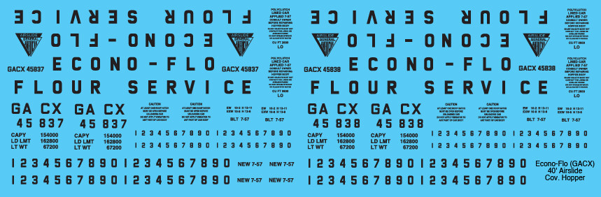GACX Airslide Covered Hopper Econo Flow Decals