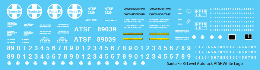Santa Fe Bi-Level Autorack ATSF White Logo Decals