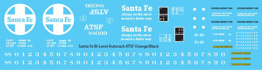 Santa Fe Bi-Level Autorack ATSF Orange Black Decals